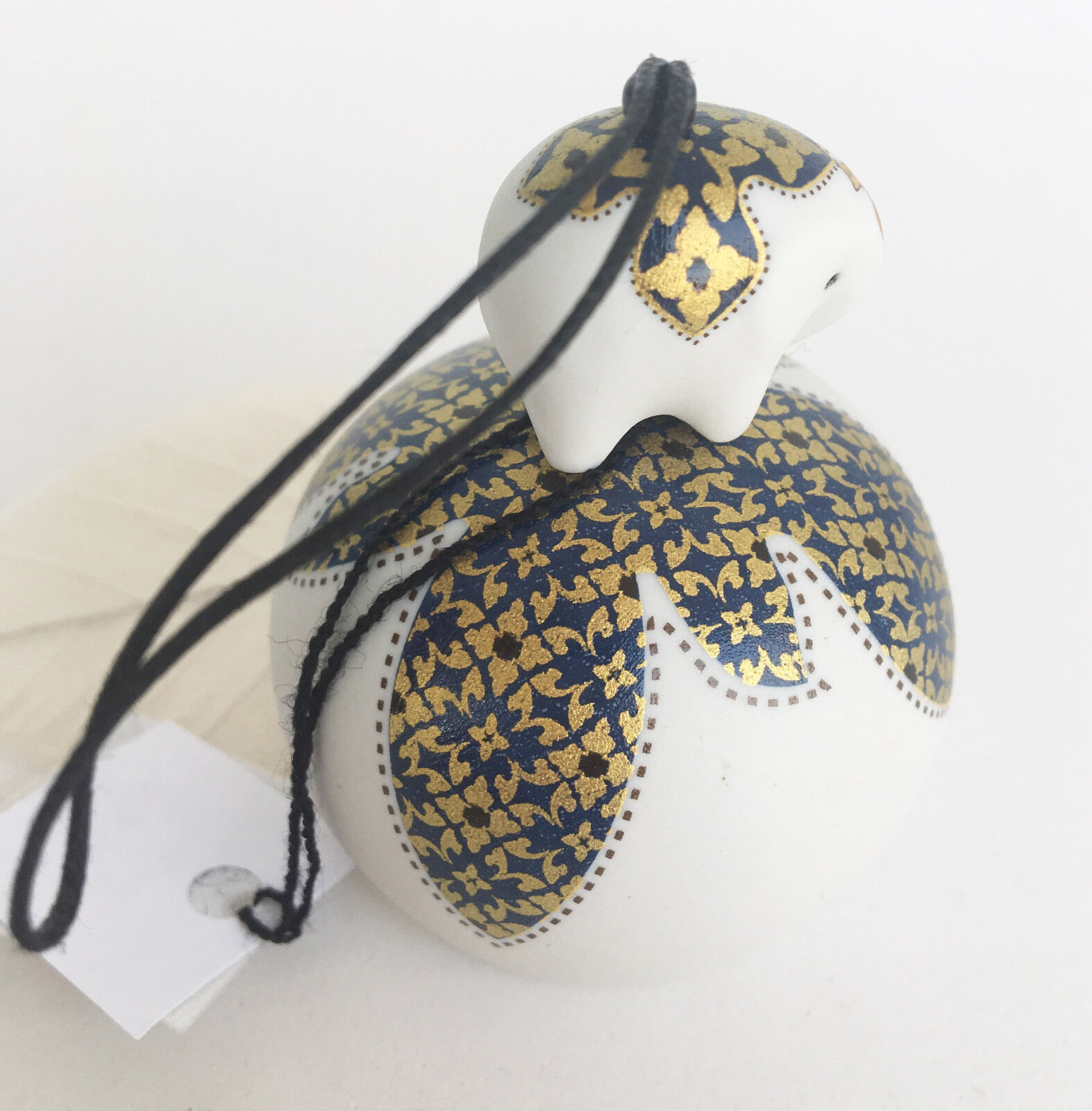 Elephant Wind Chime Bell Ceramic Black Gold Painted Home Gift Decoration