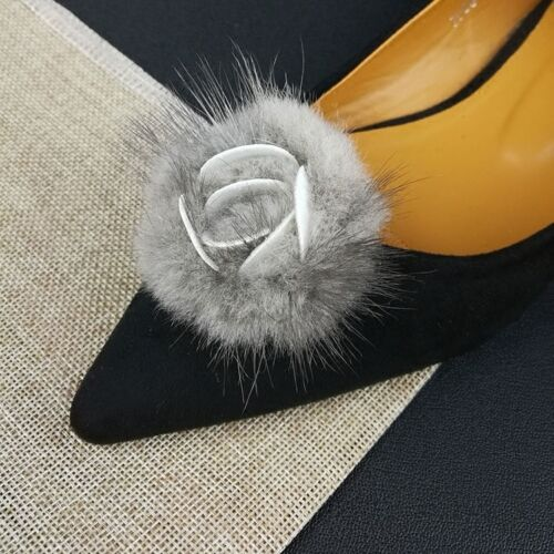 1 Pair Rose Fur Pom Shoe Clips Fluffy Ornament Heels Boots Charm Decoration New