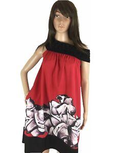 Freeway-Womens-Dress-Flowy-Off-The-Shoulder-Aline-Flare-Art-Graphics-XS