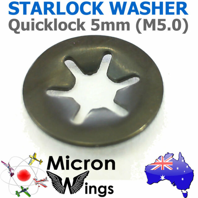 10 x Quicklock Starlock 5mm (M5.0) Speed Lock Washer (star lock locking washer)