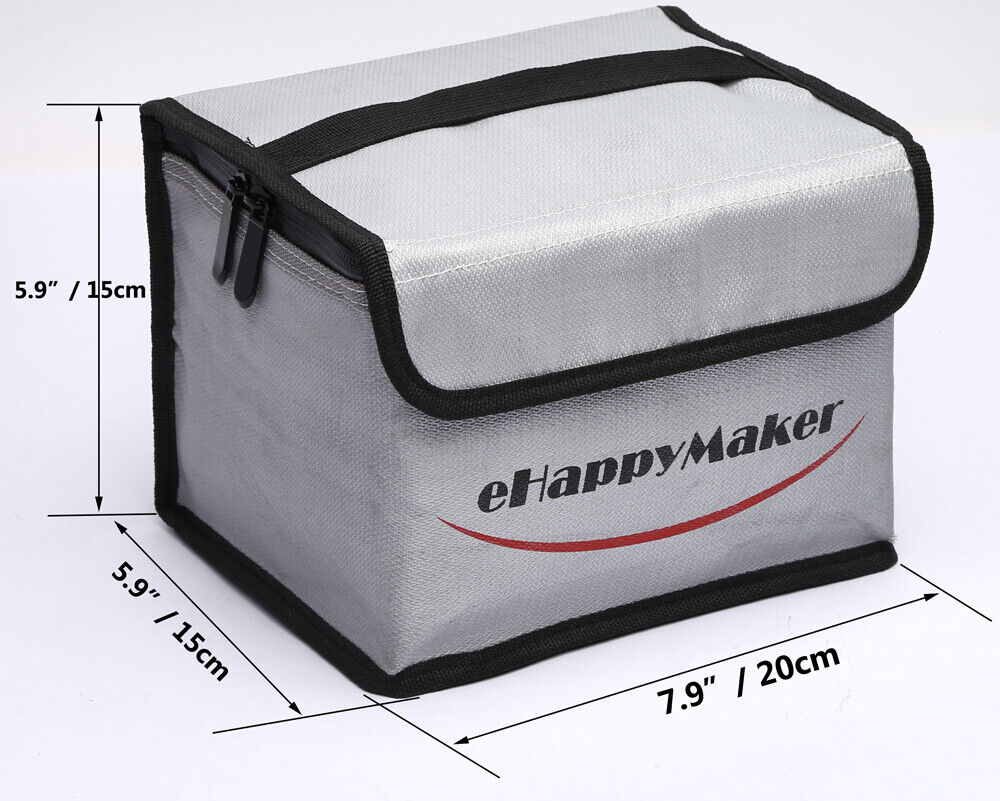 2X 185x75x60mm Square LiPo Safe Battery Charging Box Bag Sack Pouch Fire Resist