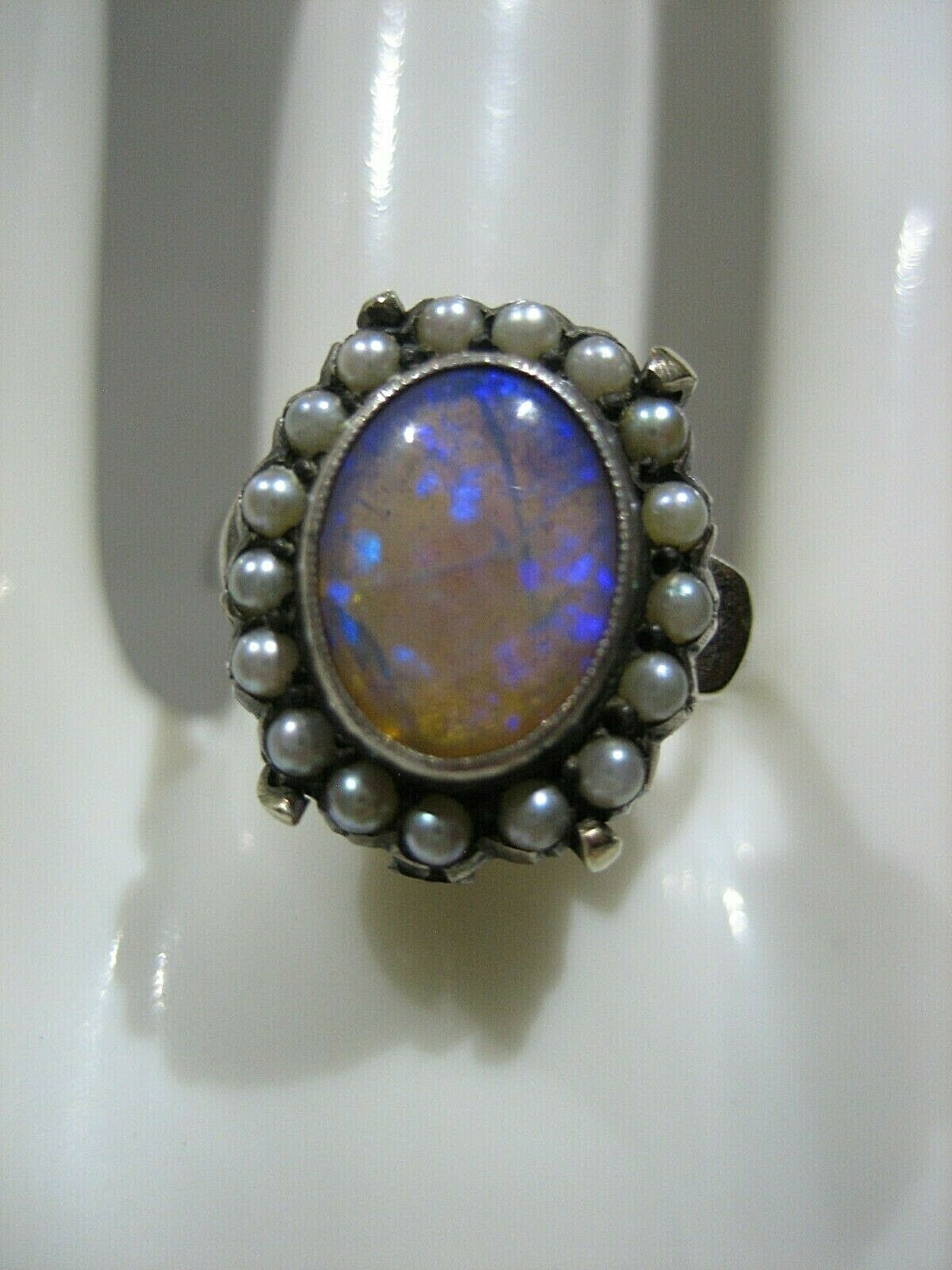 ESTATE VICTORIAN 14K WHITE GOLD OPAL AND SEED PEA… - image 2