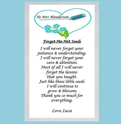 End of Term Gift Teacher Thank You Gift Personalised Forget Me Not Seeds &  Poem | eBay