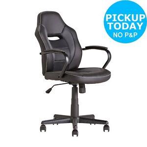 Argos Home Mid Back Gas Lift  Tilt Swivel Lock Office Gaming Chair - Black