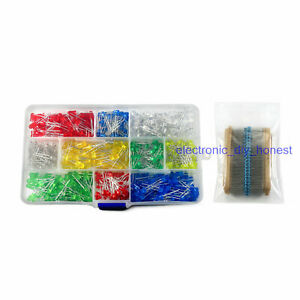 500PCS-Light-Emitting-Diode-LED-3mm-5mm-Red-Green-Yellow-Blue-White-Resistor-Kit