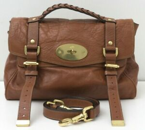 75dc2245bc7a Image is loading MULBERRY-039-Alexa-039-Cognac-Brown-Leather-Medium-