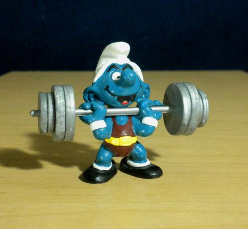 Smurfs 40507 Weightlifter Hefty Smurf Barbell Figure Vintage Toy Schleich 80s HK
