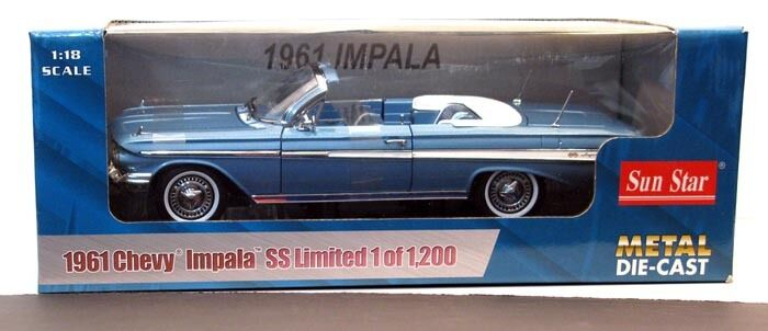 outlet online 1961 Chevrolet Impala JEWEL JEWEL JEWEL blu Converdeible 1 18 SunEstrella 3404  marchio in liquidazione
