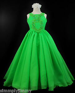 89ec442a4f2 Children   Girls National Glitz Pageant Dress Lime Green Sz 3 4 5 6 ...