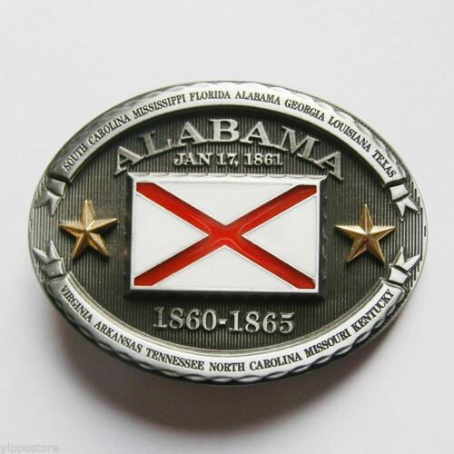Alabama AL State Flag Western Metal Belt Buckle