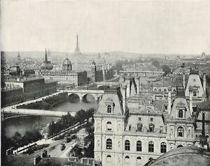Paris-France-Panorama-1890-Antique-Print-Old-Print-Seine-Eiffel-Tower-POP-03