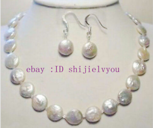 Natural Coin Pearl Bracelet and Earrings Set