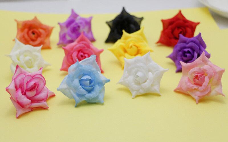 50pcs Artificial Silk Rose Flower Heads Bridal Wedding Décor DIY 5x3cm JAHS1