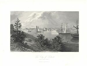 """1874 engraving """"The City of Detroit"""""""