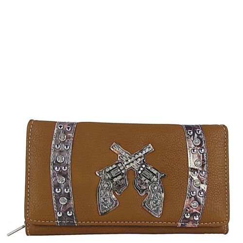 BROWN CAMO RHINESTONE STUDDED PISTOL LOOK CHECKBOOK TRIFOLD WALLET WESTERN BLING
