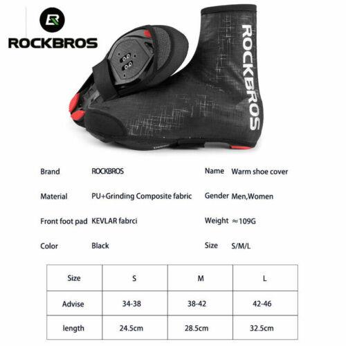 ROCKBROS Cyclisme Couvre-Chaussures Hiver Chaud Coupe-vent UC Protecteur Overshoes Black