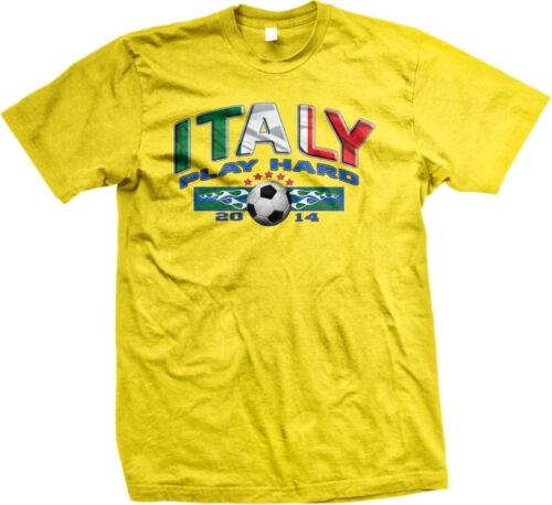 Italy Play Hard Italian Soccer Ball World Team 2014 Flag ITA IT Am Men/'s T-Shirt