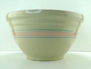 Vintage-14-034-McCoy-Mixing-Bowl-Pink-amp-Blue-Stripes-Dough-Bowl-Free-Shipping