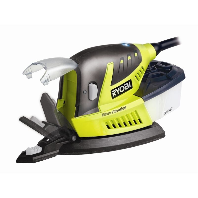 Ryobi 80W Palm Sander with Dust Collection Box 1/3 1/3 1/3 Sheet Base Includes 603cd8