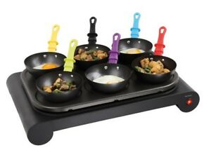 elektro wok set 6 pfannen domoclip dom200 mini crepe maker party wok grill ebay. Black Bedroom Furniture Sets. Home Design Ideas