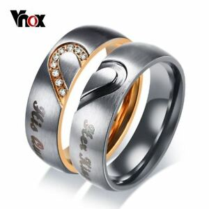 511e2a25dd Her King His Queen Couple Wedding Band Ring Stainless Steel CZ Stone ...