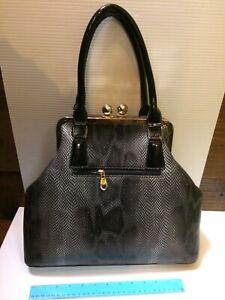 Black Imitation snake skin Leather handbag