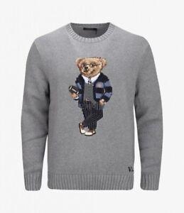 Polo-Ralph-Lauren-Polo-Mens-Size-XXL-Preppy-Football-Bear-Sweater-Gray-NWT-398