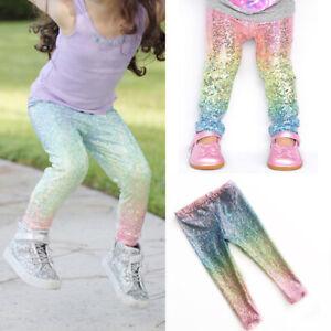 8faf4f37 Image is loading UK-Baby-Girls-Rainbow-Sequins-Leggings-Trousers-Skinny-