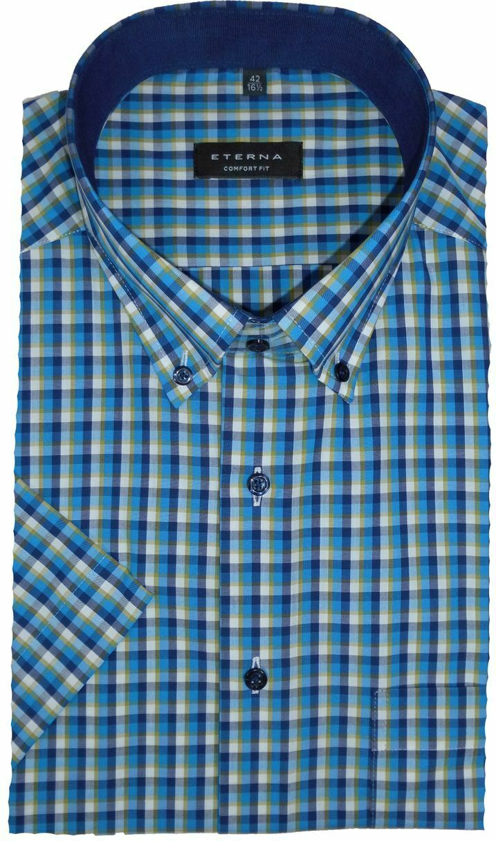 Camicia Eterna Comfort Fit a maniche corte button down Blu Turchese A Quadri 3731 65 k14l
