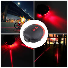 Bicycle Bike Red Laser Beam Cycling 5 LED Rear Lights Safety Tail Lamp