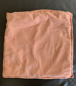 POTTERY-BARN-Decorative-Pillow-Shabby-Chic-Washed-Coral-Orange-Cotton