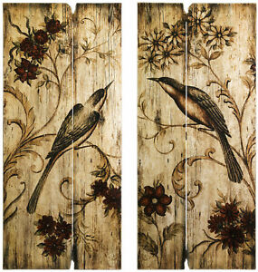 Rustic Country Wall Art Set Birds Flowers 2 Wood Panels 39 H Home