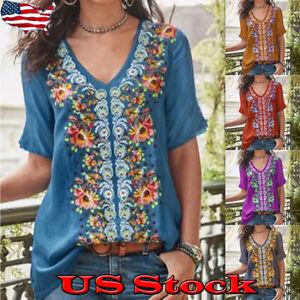 Funky-Womens-Floral-Print-Bohemian-Blouse-Top-V-Neck-Short-Sleeved-Shirt-Travel