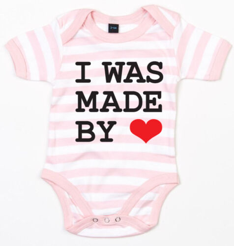 I was made by love Baby-body rosa//blanco a rayas