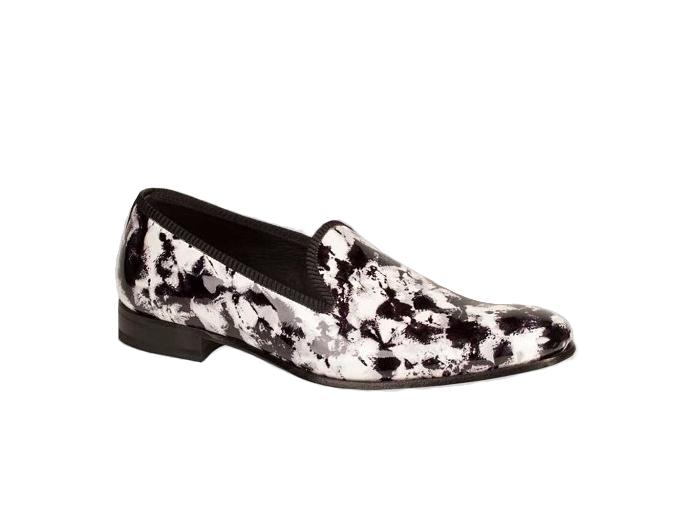 Mezlan Mayr Men's nero bianca Leather Pop-Art Fashion Evening Pump Loafers