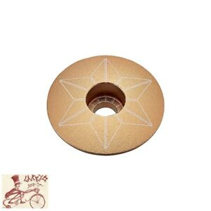 "SUPACAZ STAR CAPZ 1-1/8"" ANODIZED GOLD BICYCLE HEADSET TOP CAP"