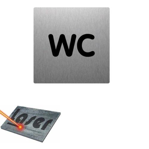 "Plaque gravée autocollante 15x15cm /""WC/"" fond alu brossé"