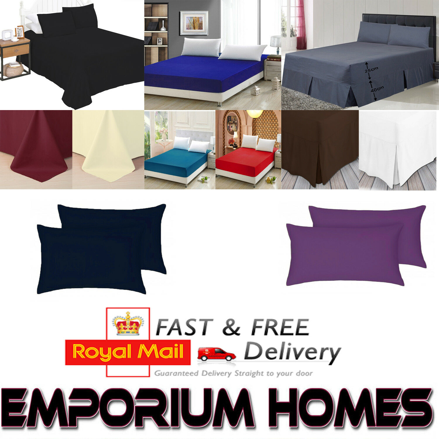 Luxury Fitted Bed Sheets 100/% EasyCare Single Double King Super /& Pillow Cases