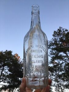 Hayner whiskey Dayton, St Louis, Atlanta, St Paul Blown In Mold Bottle