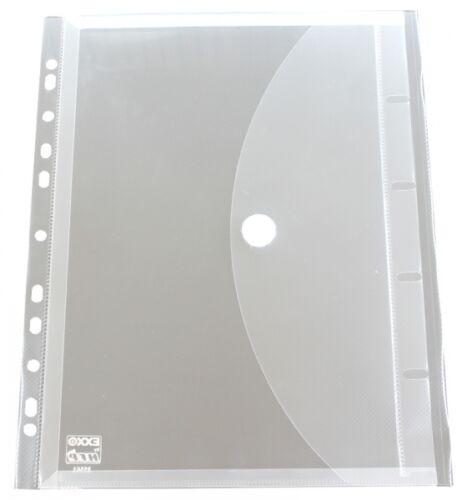 100x Dokumententaschen Umschläge Dehnfalte Klettverschluss Abheftrand A4 farblos