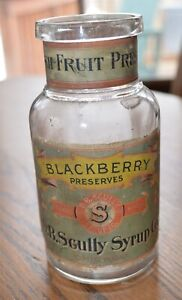 1910-era-paper-label-Blackberry-Preserves-Jar-D-B-Scully-Syrup-Co-Chicago