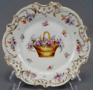 Helena Wolfsohn Dresden Hand Painted Floral Basket & Gold Reticulated Plate D