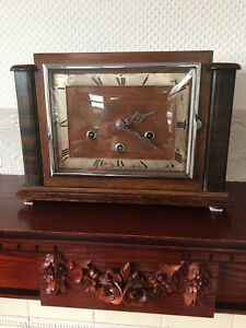 Mantle-Clock-A-Lovely-Large-Art-Deco-C1930-40-s-Mahogany-Cased-Working-Clock