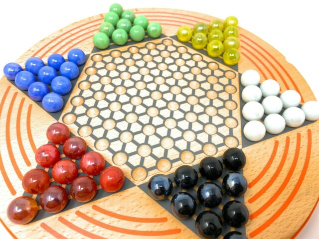 Chinese Checkers Wooden Board Game High Quality Round Puzzle Glass Marbles NEW