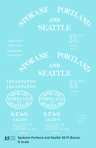 K4-O-Decals-Spokane-Portland-and-Seattle-50-Ft-Boxcar-White-Arched-Lettering