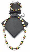 Seashell Necklace N Bracelet Set Rasta Colors Ryg Bead Reggae African Jamaican