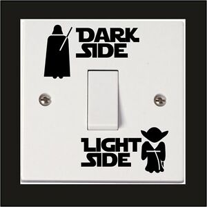 STAR-WARS-Wall-Sticker-DARK-LIGHT-Interruttore-laterale-Vinile-Decalcomania-Bambino-Camera-Casa
