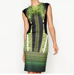 63-Star-by-Julien-Macdonald-Green-printed-scuba-knee-length-bodycon-dress