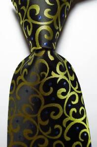 New-Classic-Paisley-Black-Gold-Blue-JACQUARD-WOVEN-Silk-Men-039-s-Tie-Necktie