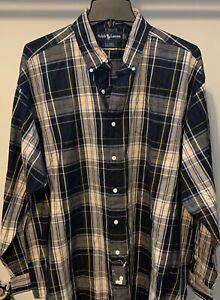 NEW-Ralph-Lauren-Big-Shirt-SZ-Large-Plaid-Button-Front-Long-Sleeves-Blue-Yellow